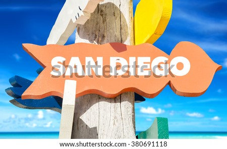 San Diego welcome sign with beach - stock photo