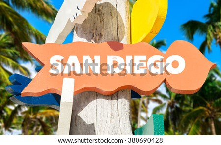 San Diego welcome sign with palm trees - stock photo