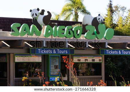 San Diego Zoo, San Diego, California - February 07 : Zoo entrance late afternoon with no now in line, February 07 2015 in San Diego Zoo, San Diego, California. - stock photo
