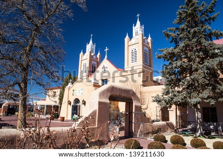 San Felipe de Neri Church in Old Town Alburqueque, New Mexico, USA - stock photo