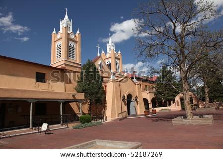 San Felipe de Neri Church in Old Town in Albuquerque New Mexico built in 1793 - stock photo