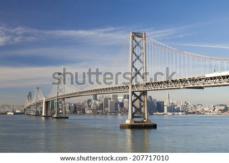 San Francisco and Bay bridge in the morning - stock photo