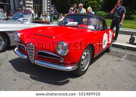 SAN FRANCISCO - APRIL 29: A 1962 Alfa Romeo Giulia Spider is on display during the 2012 California Mille show in Nob Hill in San Francisco on April 29, 2012