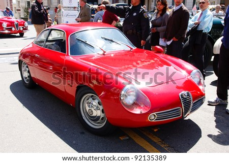 SAN FRANCISCO - APRIL 24: A 1961 Alfa Romeo Sprint Zagato is on display during the 2011 California Mille show in Nob Hill in San Francisco on April 24, 2011