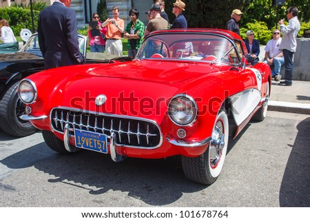 SAN FRANCISCO - APRIL 29: A 1957 Chevrolet Corvette is on display during the 2012 California Mille show in Nob Hill in San Francisco on April 29, 2012
