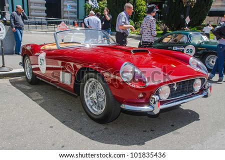 SAN FRANCISCO - APRIL 29: A 1958 Ferrari 250 GT Spider is on display during the 2012 California Mille show in Nob Hill in San Francisco on April 29, 2012