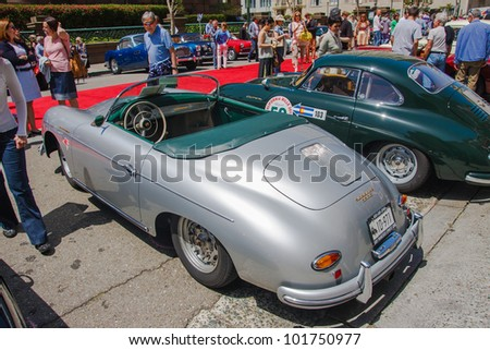 SAN FRANCISCO - APRIL 29: A 1958 Porsche Speedster is on display during the 2012 California Mille show in Nob Hill in San Francisco on April 29, 2012