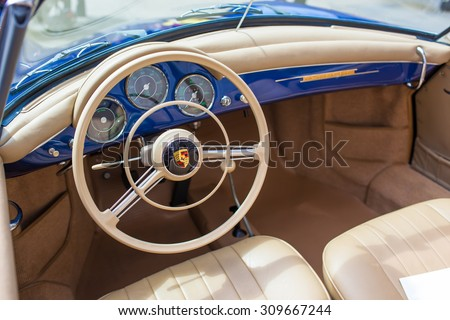 SAN FRANCISCO - APRIL 27: Interior of a 1959 Porsche 356A Convertible in San Francisco on April 27, 2014
