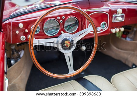 SAN FRANCISCO - APRIL 27: Interior of 1953 Porsche 356 Cabriolet in San Francisco on April 27, 2014