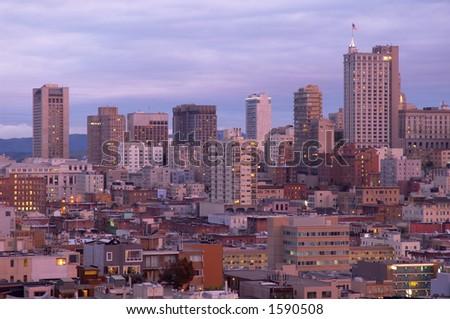 San Francisco at dusk, California, Usa - stock photo