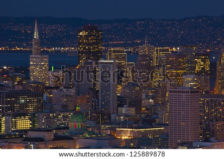 San Francisco at night with city hall lit up with Christmas