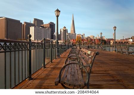 San Francisco at sunrise - stock photo