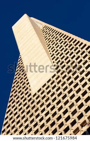 SAN FRANCISCO - AUGUST 11: Transamerica Pyramid on August 11, 2012 in San Francisco. The Transamerica Pyramid is the tallest skyscraper in the San Francisco skyline and one of its most iconic. - stock photo