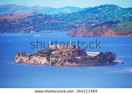 San Francisco bay and Alcatraz island - stock photo