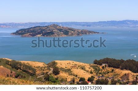 San Francisco Bay - Angel Island seen from Marin Headlands - stock photo