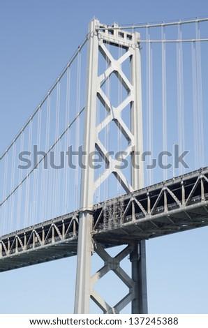 San Francisco Bay Bridge close-up shoot - stock photo