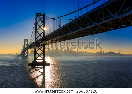 San Francisco Bay Bridge during sunset