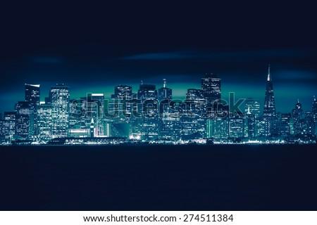 San Francisco Blue Skyline Photo Concept. San Francisco Cityscape, California, United States. - stock photo