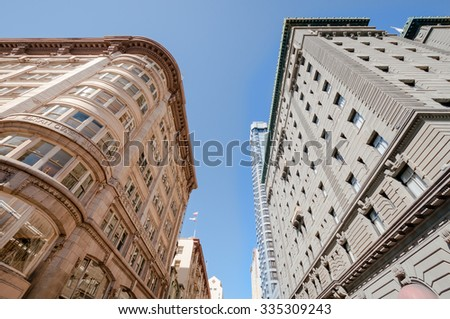 San Francisco Buildings Downtown Skyline view with blue sky