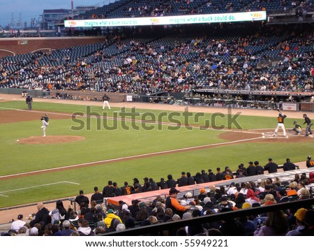 SAN FRANCISCO, CA - APRIL 1: Giants vs. A's: Edgar Renteria waits for a pitch during a exhibition night baseball game, taken at At&T Park San Francisco on April 1, 2010.