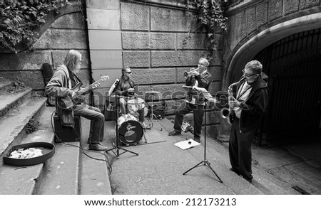 SAN FRANCISCO, CA - AUGUST 16, 2014 - Musicians Playing Jazz on Steps in Golden Gate Park San Francisco.