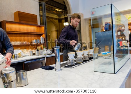 SAN FRANCISCO, CA - DECEMBER 13, 2015: Blue Bottle Coffee shop in the financial district of San Francisco. - stock photo