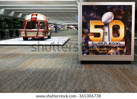 SAN FRANCISCO, CA -5 JANUARY 2016- Sign for the NFL Super Bowl 50, to be held in the Bay Area at the Levi Stadium in Santa Clara on February 7, at the San Francisco International Airport (SFO). - stock photo