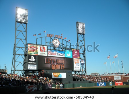 SAN FRANCISCO, CA - JULY 28: ATT Park HDTV Scoreboard in the outfield bleachers displays 'Let's Go Giants' in the final inning to rally the fans.   July 28, 2010 San Francisco California.