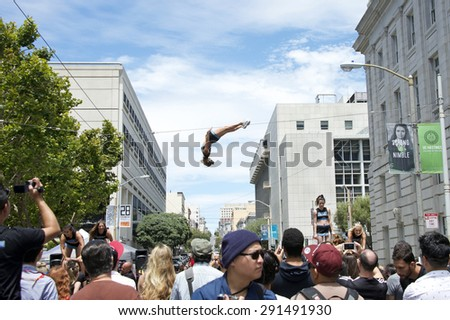 SAN FRANCISCO, CA - JUNE 27, 2015: Cheer LA performing in the street at the annual San Francisco Gay Festival, held at Civic Center in downtown San Francisco.