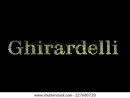 SAN FRANCISCO, CA - NOVEMBER 17: Ghirardelli Sign at Night in Historical Ghiradelli Square November 17, 2012 in San Francisco, California - stock photo