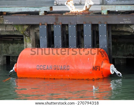 SAN FRANCISCO, CA - NOVEMBER 18:  Ocean Guard Mooring Buoy Marine Fender Fisherman's Wharf 2012 - stock photo