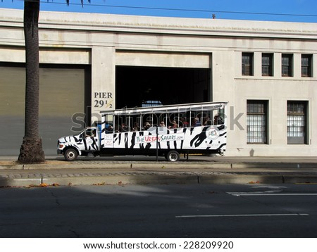 SAN FRANCISCO, CA - NOVEMBER 18: The Urban Safari Sightseeing Tour Bus 2012 - stock photo