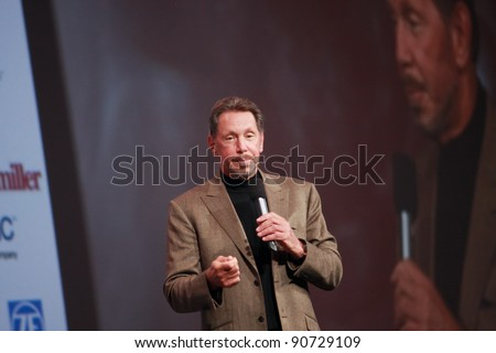 SAN FRANCISCO, CA, OCT 5, 2011 - CEO of Oracle Larry Ellison makes his first speech at Oracle OpenWorld conference on Oct 5, 2011. He is the third in the Forbes list of richest US persons - stock photo