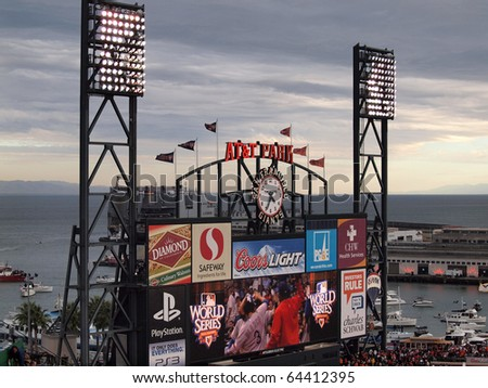 SAN FRANCISCO, CA - OCTOBER 28: AT&T Park HDTV Scoreboard displays ads and fan activity to fans in the outfield bleachers of game 2 of the 2010 World Series game between San Francisco Giants and Texas Rangers on Oct. 28, 2010 in San Francisco. - stock photo