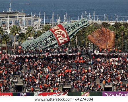 SAN FRANCISCO, CA - OCTOBER 20: Fans fill into the bleacher section of ballpark before start game 4 of the 2010 NLCS game between Giants and Phillies Oct. 20, 2010 AT&T Park San Francisco, CA. - stock photo