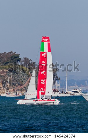 SAN FRANCISCO, CA - OCTOBER 7:  Italian team race in Louis Vuitton Cup part of America's Cup World Series on Oct 7, 2012 in San Francisco, CA. - stock photo