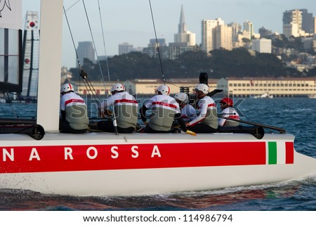 SAN FRANCISCO, CA - OCTOBER 4: Italy'??s Team Luna Rossa Piranha skippered by Chris Draper competes in the America'?s Cup World Series sailing races in San Francisco, CA on October 4, 2012 - stock photo