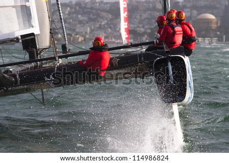 SAN FRANCISCO, CA - OCTOBER 4: Team China'??s sailboat skippered by Phil Robertson competes in the America's Cup World Series sailing races in San Francisco, CA on October 4, 2012 - stock photo