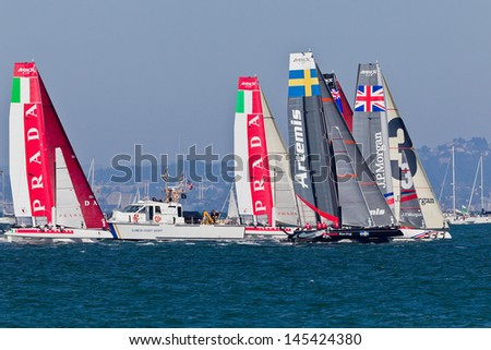 SAN FRANCISCO, CA - OCTOBER 7: The America�¢??s Cup World Series sailing fleet races during Fleet Week in San Francisco, CA on October 7, 2012 - stock photo