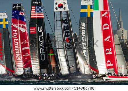SAN FRANCISCO, CA - OCTOBER 4: The America'??s Cup World Series sailing fleet races in San Francisco, CA on October 4, 2012 - stock photo