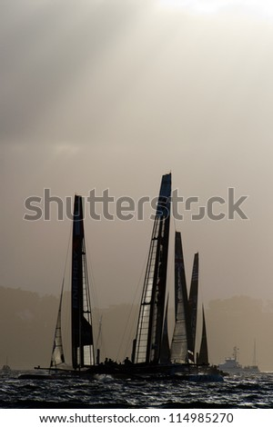 SAN FRANCISCO, CA - OCTOBER 4: The fleet competes in the America'??s Cup World Series sailing races in San Francisco, CA on October 4, 2012 - stock photo