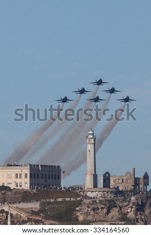 SAN FRANCISCO, CA - OCTOBER 10: US Navy Demonstration Squadron Blue Angels showing precision of flying and the highest level of pilot skills during Fleet Week on October 10, 2015, San Francisco, CA.