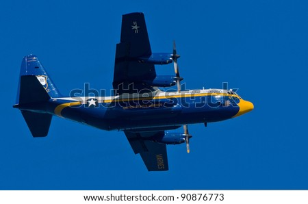 SAN FRANCISCO, CA - OCTOBER 8: US Navy Lockheed-Martin C-130T Hercules, affectionately known as Fat Albert Airlines, performs during 2011 Fleet Week on October 8, 2011 in San Francisco, CA.