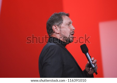 SAN FRANCISCO, CA, SEPT 30, 2012 - CEO of Oracle Larry Ellison makes his first speech at Oracle OpenWorld conference in Moscone center on Sept 30, 2012. He is onet of richest US persons - stock photo
