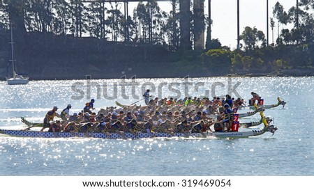 SAN FRANCISCO, CA - SEPTEMBER 20, 2015: Unknown participants in the 20th Annual Kaiser Permanente International Dragon Boat Races. A two-day, admission-free festival event on Treasure Island. - stock photo