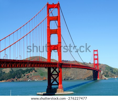 SAN FRANCISCO CA USA APRIL 17: Golden Gate bridge in San Francisco on april 17 2015 in San Francisco California USA The Golden Gate Bridge is a suspension bridge spanning the Golden Gate strait.