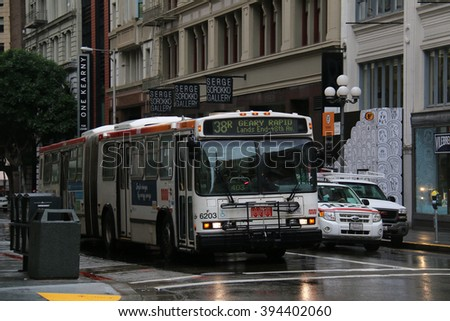 San Francisco, CA, USA - December 24, 2015: The San Francisco Muni Bus is operated by the San Francisco Municipal Transportation Agency, the consolidation of the Muni, DPT and the Taxicab Commission.
