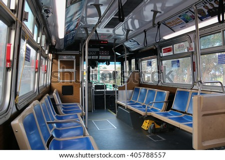San Francisco, CA, USA - December 24, 2015: The San Francisco Muni Bus is operated by the San Francisco Municipal Transportation Agency, the consolidation of the Muni, DPT and Taxicab Commission.