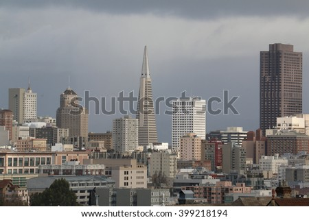 San Francisco, CA, USA - December 24, 2015: The Transamerica Pyramid is the tallest skyscraper in the San Francisco skyline. On completion in 1972, it was the eighth tallest building in the world.