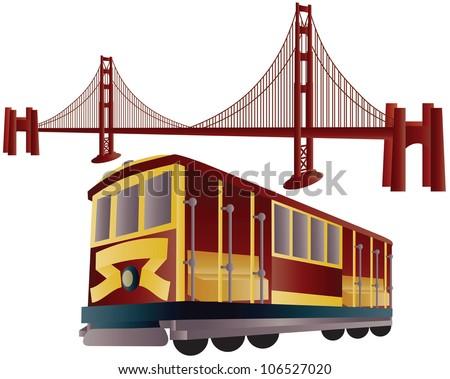 San Francisco Cable Car Trolley and Golden Gate Bridge Raster Vector Illustration - stock photo